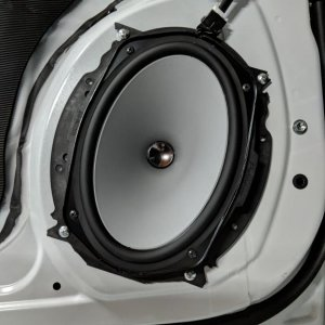 "Pioneer 6x9"" TS-A component woofer in the front door"